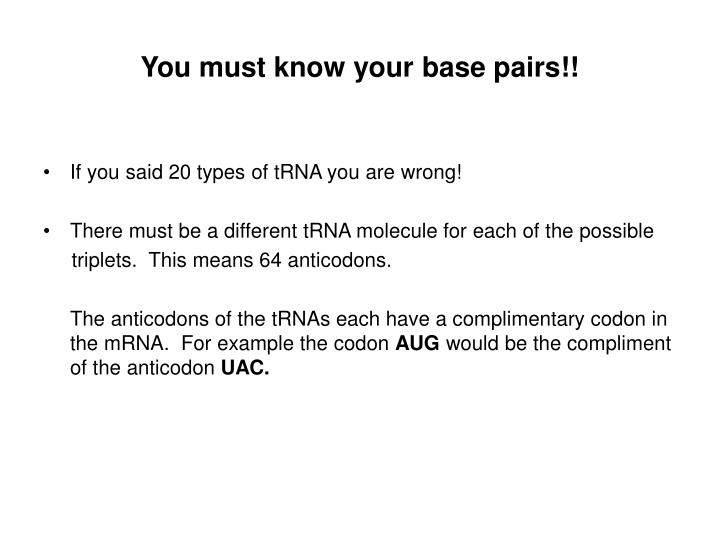 You must know your base pairs!!