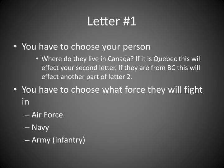 Letter #1