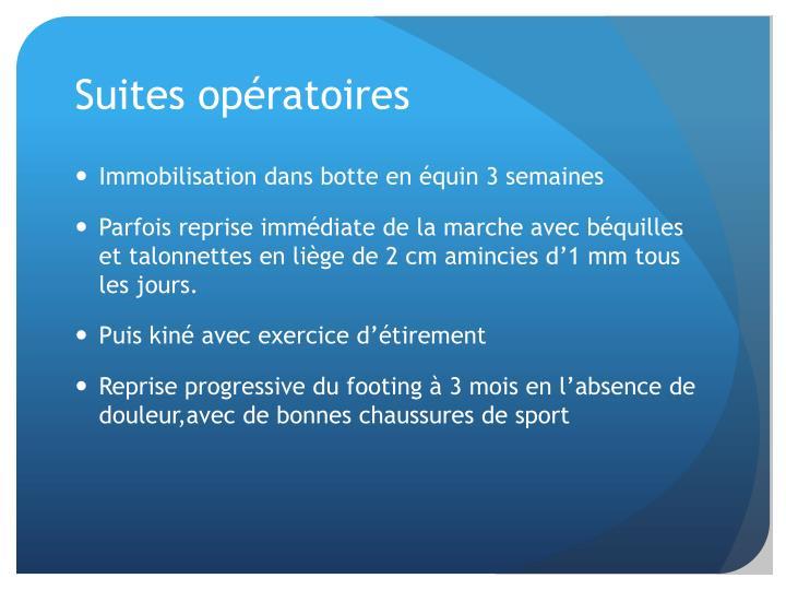Suites opératoires