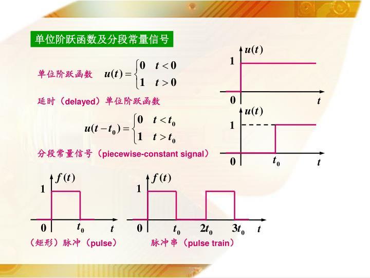 单位阶跃函数及分段常量信号