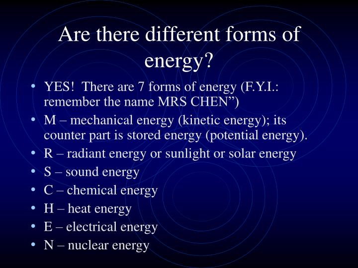 Are there different forms of energy?