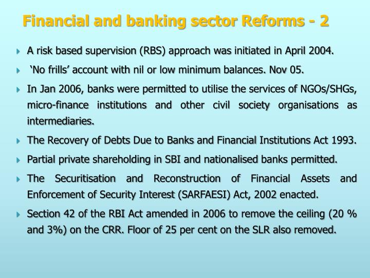 Financial and banking sector Reforms - 2