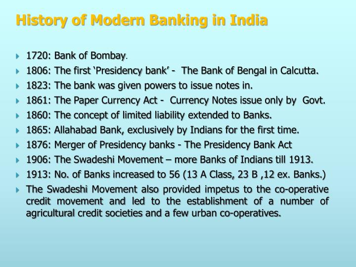 History of Modern Banking in India