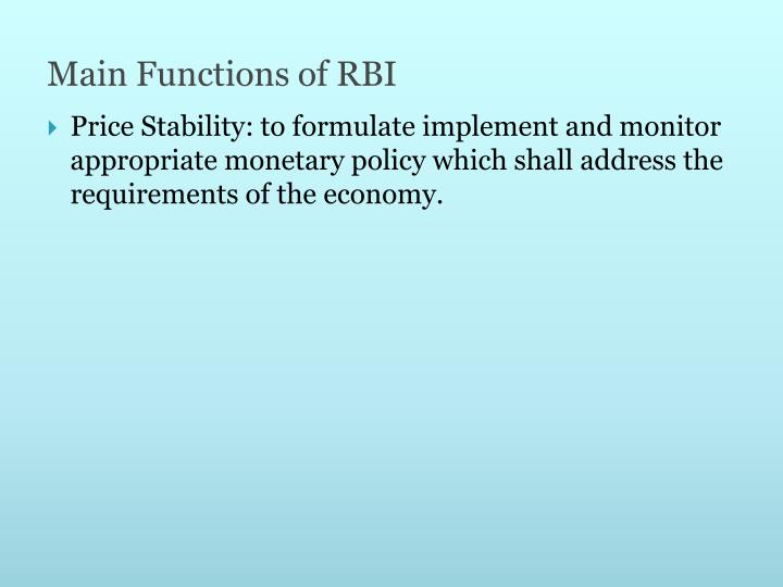 Main Functions of RBI