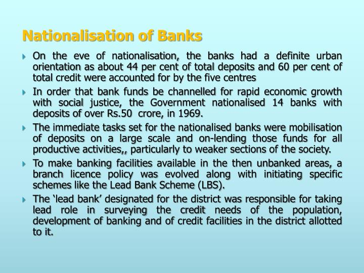 Nationalisation of Banks
