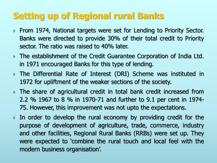 Setting up of Regional rural Banks