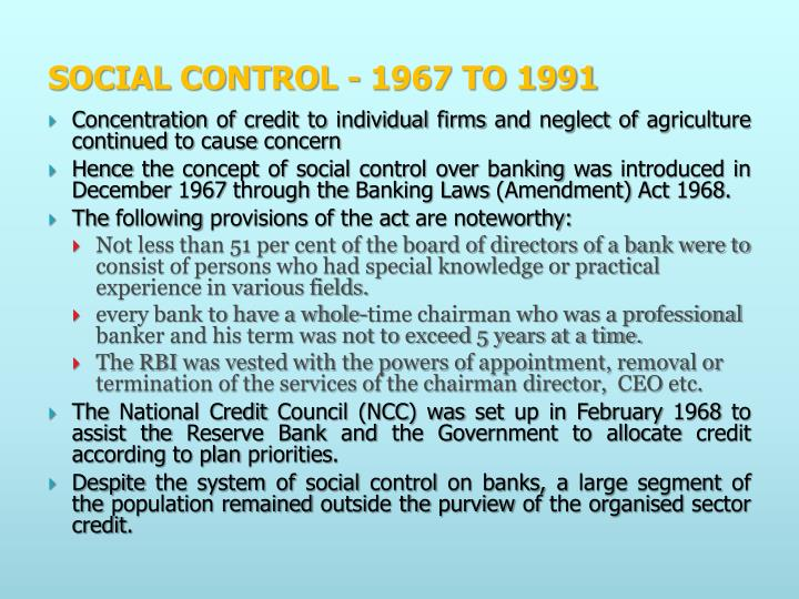 SOCIAL CONTROL - 1967 TO 1991