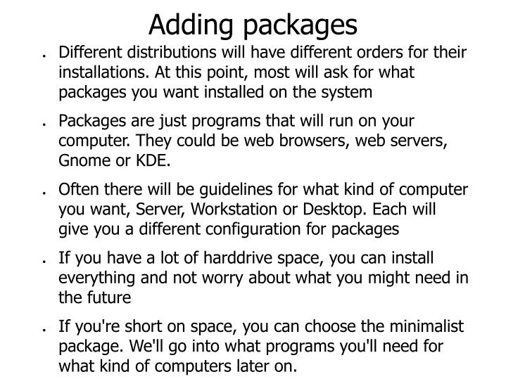 Adding packages