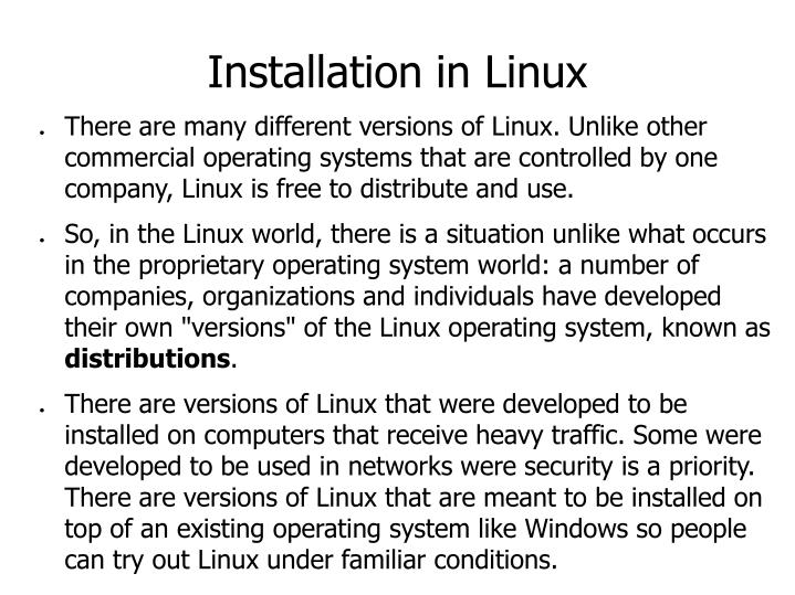Installation in Linux