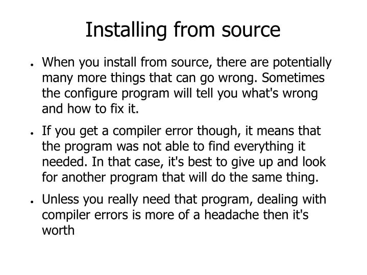 Installing from source