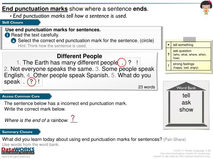 End punctuation marks