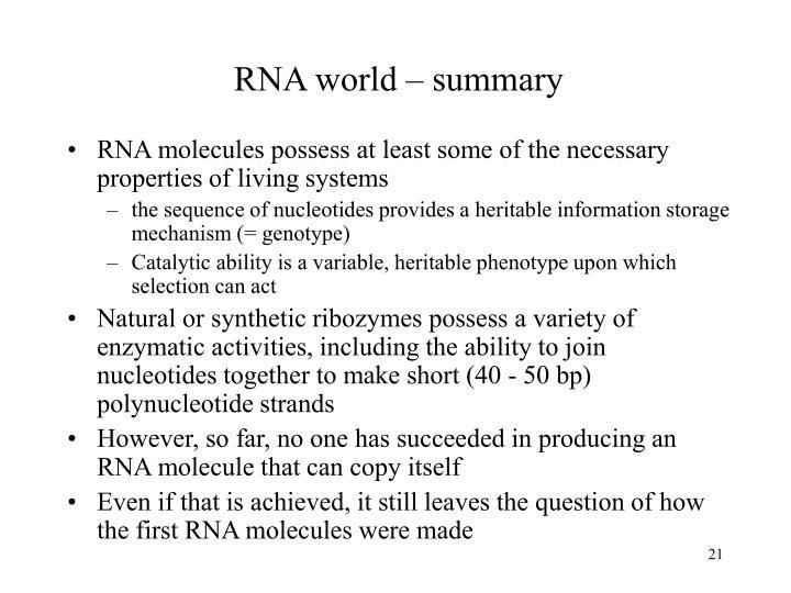 RNA world – summary