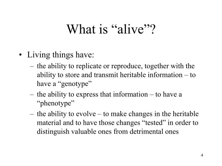 """What is """"alive""""?"""