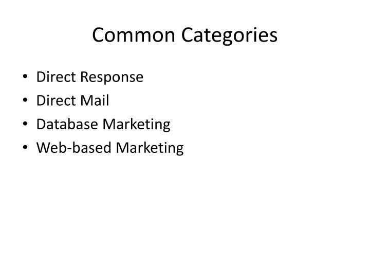 Common Categories