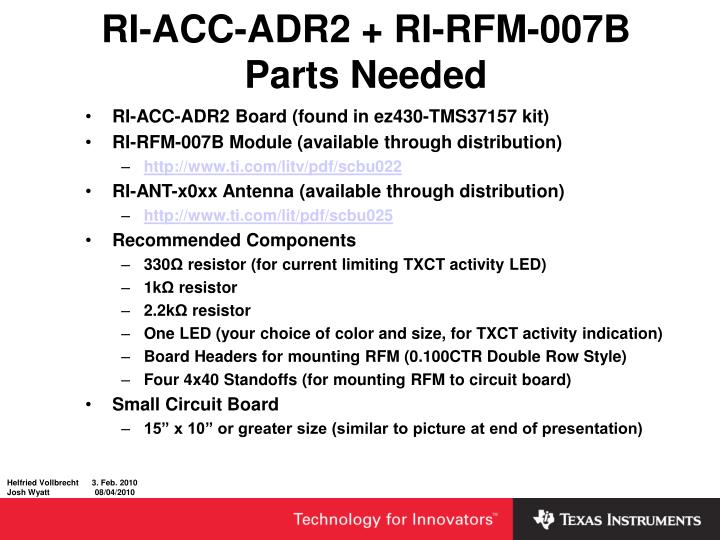 RI-ACC-ADR2 + RI-RFM-007B Parts Needed