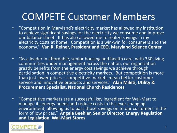 Compete customer members
