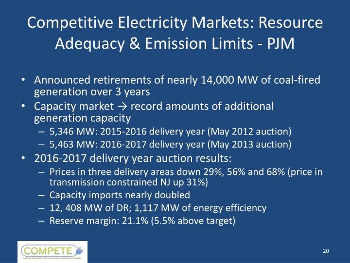 Competitive Electricity Markets: Resource Adequacy & Emission Limits - PJM
