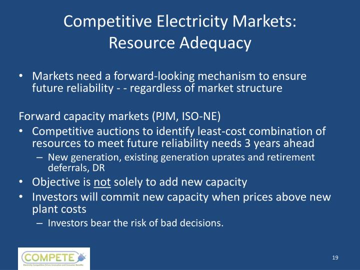 Competitive Electricity Markets: