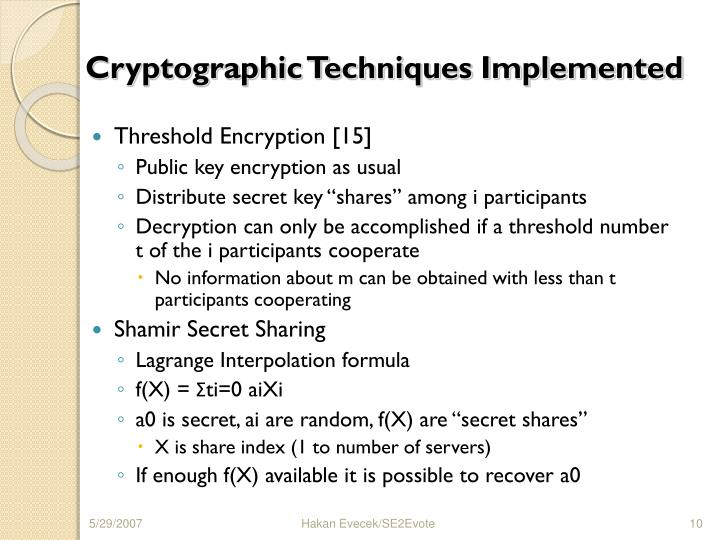 Cryptographic Techniques Implemented