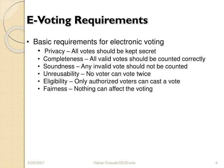 E-Voting Requirements