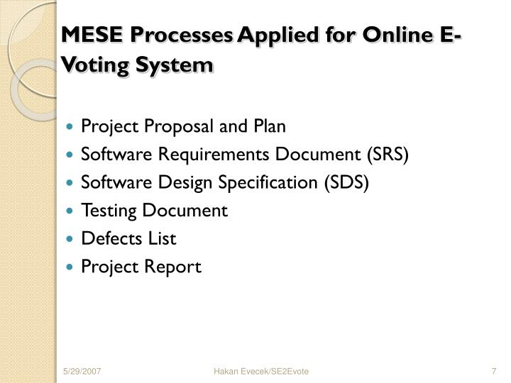MESE Processes Applied for Online E-Voting System