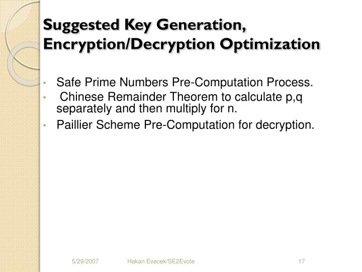 Suggested Key Generation, Encryption/Decryption Optimization