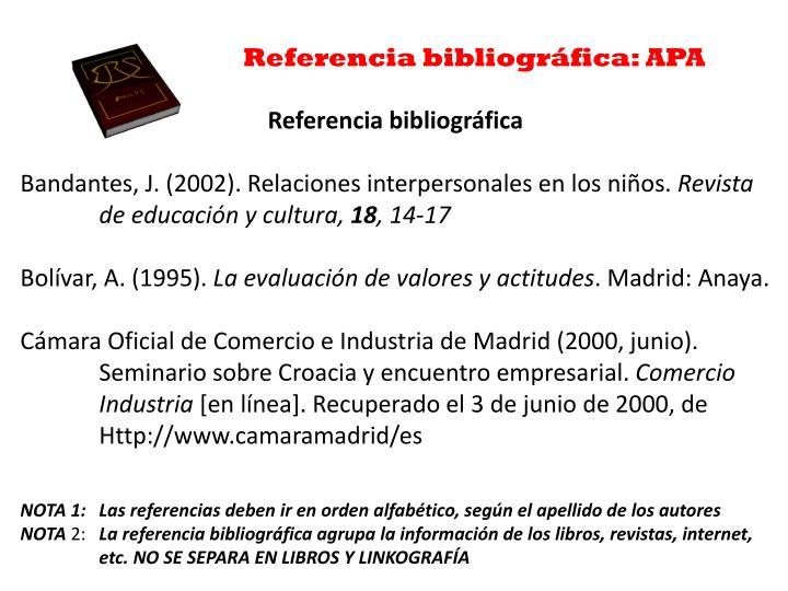 Referencia bibliográfica: APA