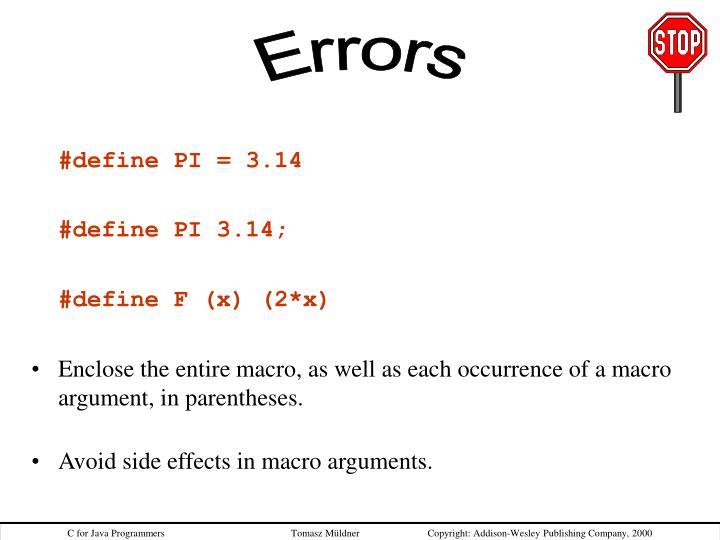 #define PI = 3.14