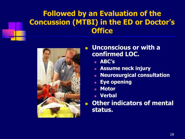 Followed by an Evaluation of the Concussion (MTBI) in the ED or Doctor's Office