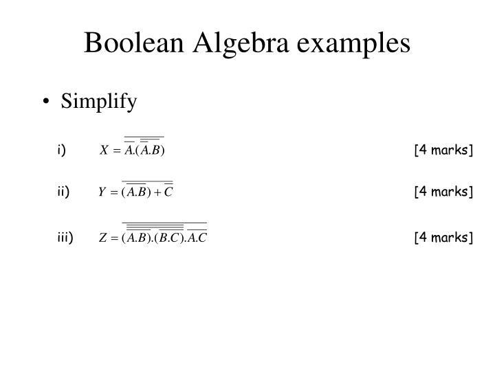 Boolean Algebra examples