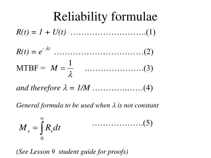Reliability formulae
