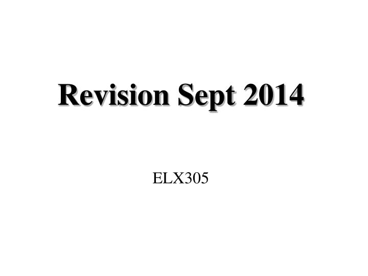 Revision sept 2014