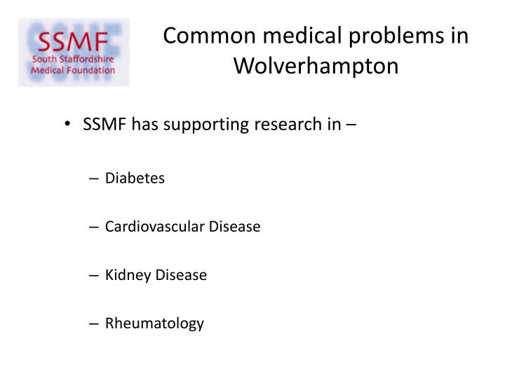 Common medical problems in Wolverhampton