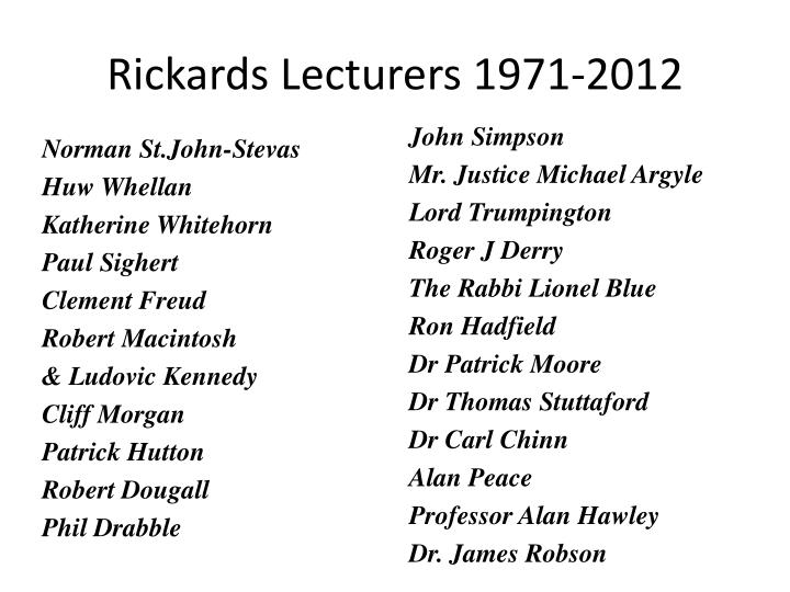 Rickards Lecturers 1971-2012