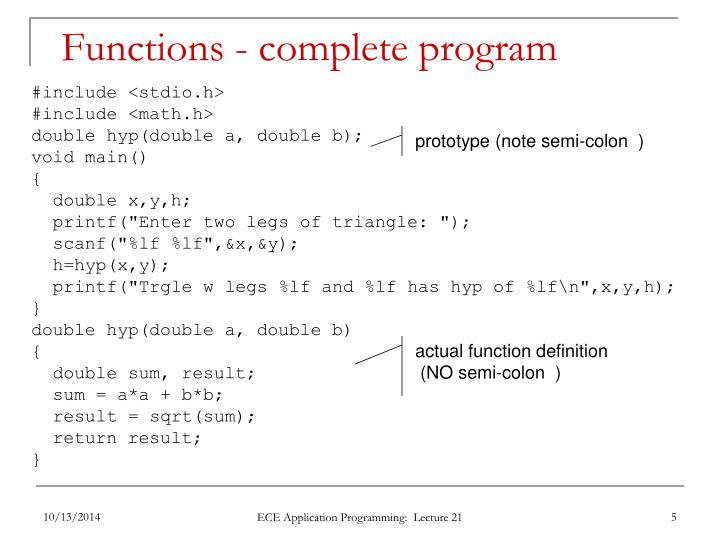 Functions - complete program