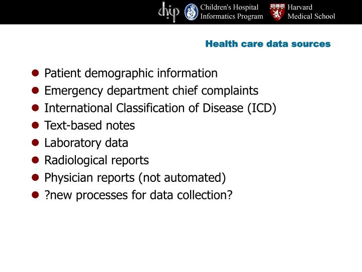 Health care data sources