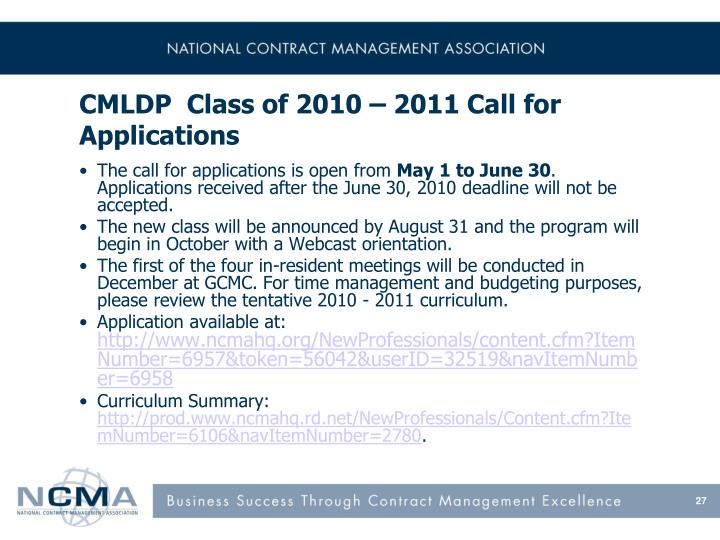 CMLDP  Class of 2010 – 2011 Call for Applications