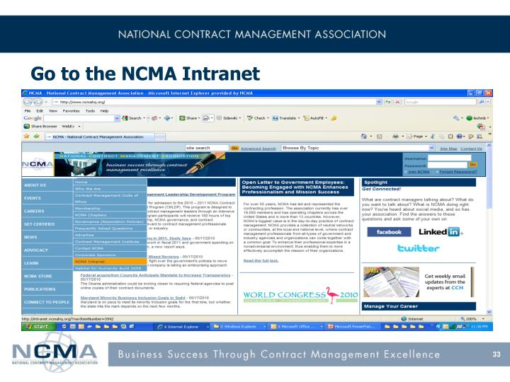 Go to the NCMA Intranet