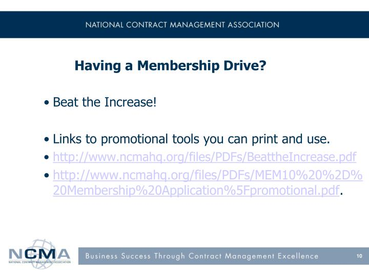 Having a Membership Drive?