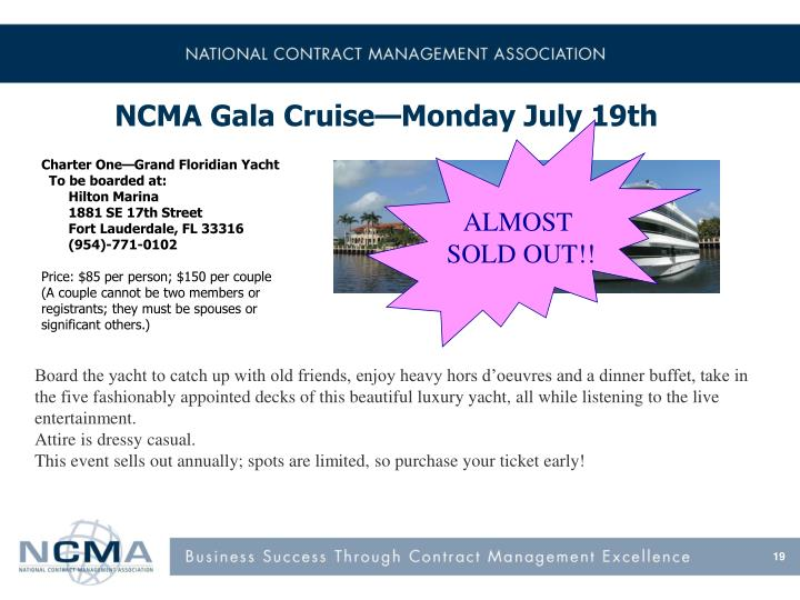 NCMA Gala Cruise—Monday July 19th