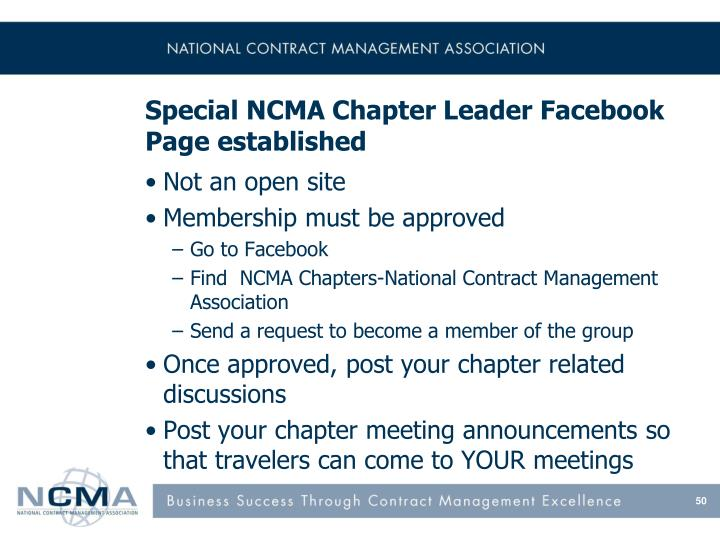 Special NCMA Chapter Leader Facebook Page established