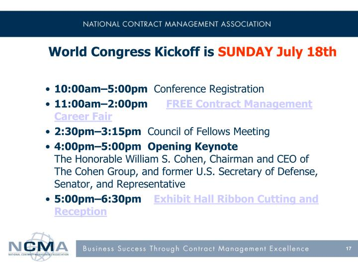 World Congress Kickoff is