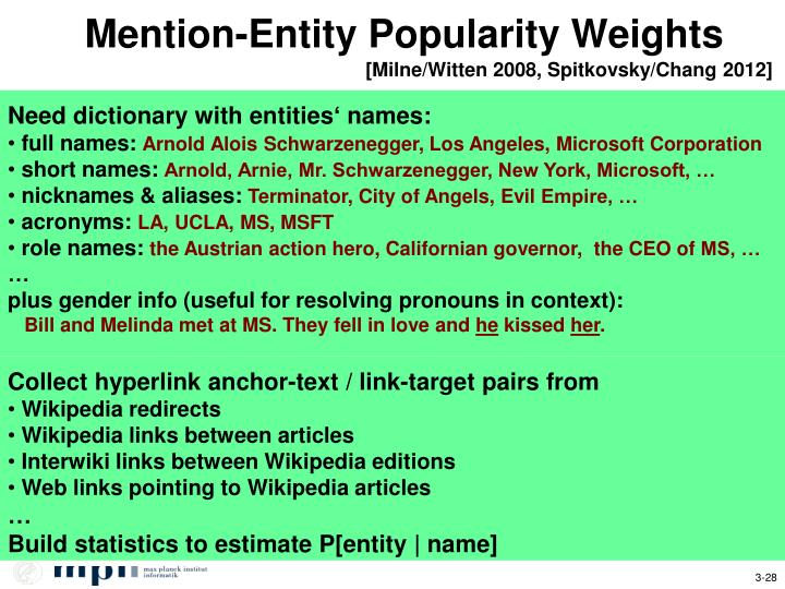 Mention-Entity Popularity Weights