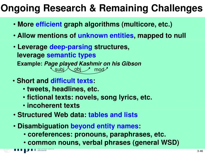 Ongoing Research & Remaining Challenges