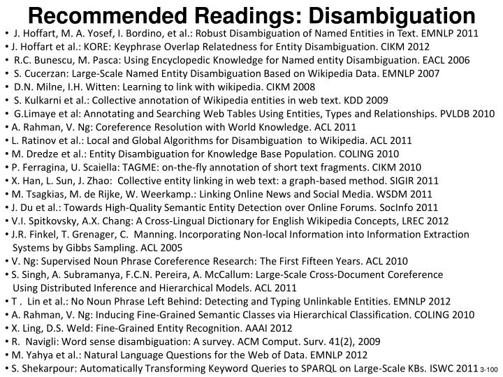Recommended Readings: Disambiguation