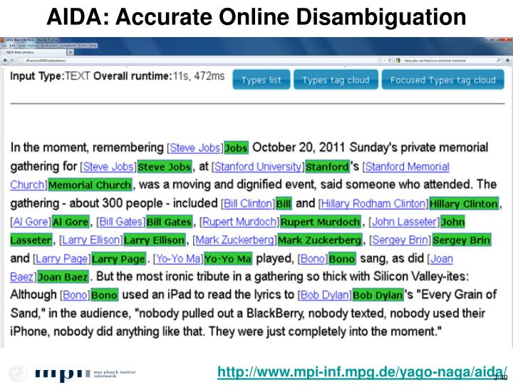AIDA: Accurate Online Disambiguation