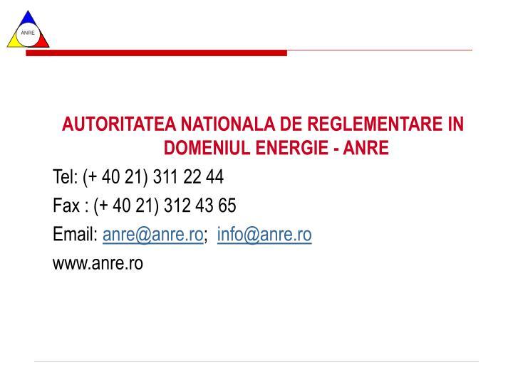 AUTORITATEA NATIONALA DE REGLEMENTARE IN DOMENIUL ENERGIE - ANRE