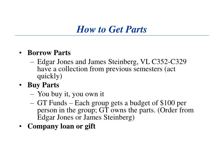 How to Get Parts