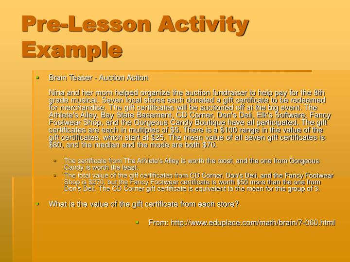 Pre-Lesson Activity Example