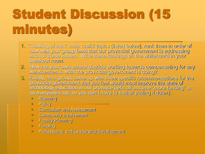 Student Discussion (15 minutes)